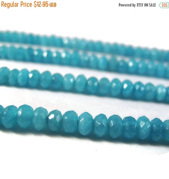 Labor Day SALE - Aqua Gemstone Rondelles, Dyed Jade Beads, Rondelle Necklace, 15.5 Inch Strand of Faceted 4mm Gemstones for Making Jewelry
