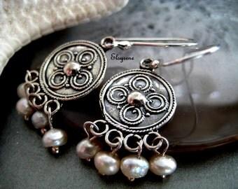 Frida Khalo Style Jewelry Earrings-chandelier Silver earrings-dainty Chandelier Pearl Earrings-Mexican Chandelier Pearl Earrings-Boho