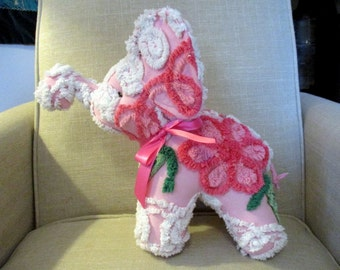 Elephant stuffed animal made from Vintage Chenille bedspread- Pink Elephants on Parade!!
