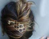 Hair Ware // XL Honeycomb Brass Handmade Hair Bun Slide Pin