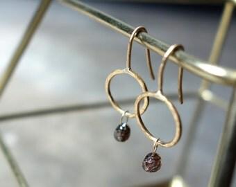 Handmade 18K Yellow Gold Circle Drop Earrings with Rose Cut Natural Diamond Drops