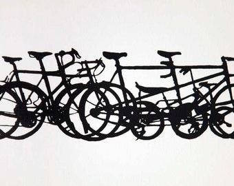 Bicycle Art Print - Bike Stack Mini Profiles - Classic Black on Creamy White - Bicycle Art Print- Bike Wall Art - Bicycle Painting - Cycling