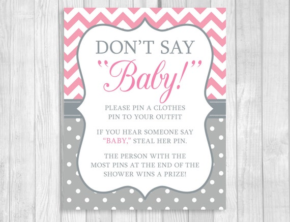 It is a photo of Witty Don't Say Baby Printable