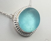 Aqua Sea Glass Pendant Aqua Sea Glass Necklace Sea Glass Jewelry - N-381