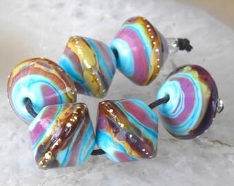 1 Pair or 3 Pairs Silvered Raku Mixed Bicones  Lampwork Beads , Turquoise Pink Raku glass beads by Beadfairy Lampwork, SRA