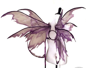 Dawn No.2 - Large Fairy Wings in Lavender and Purple - Strapless Convertible