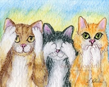 cat kitten 5x7 8x10 11x14 art print tabby tuxedo ginger three wise monkeys hear no evil see speak from Susan Alison watercolour painting