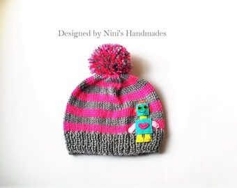 Knit Baby Hat with  GIRL ROBOT Design,  Childrens and Baby Hat, Beanie, Photoprop, Robot,  toddler hat, childrens clothing