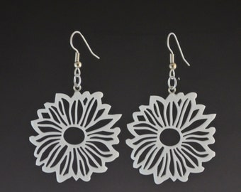 Daisy Flower Drop Wire Hook Pierced Earrings - Upcycled White Corian Handmade Recycled Jewelry by Mark Noll - Gift for Her