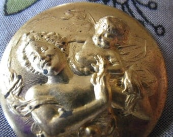 Angel at My Shoulder Vintage Round Brass Stampings 35mm 2 Pcs