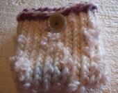 tweeds and Pinks  art yarnand Flowers Mini  Bag