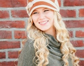 Womens Hat  Herringbone Wool   Waxed Canvas  Winter Hat Gifts for Her