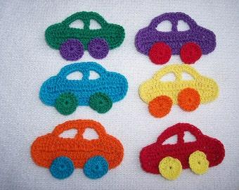 6 thread crochet applique cars -- 2540