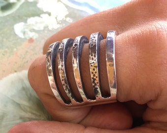 Wide silver band, wide ring, simple and, casual ring, unisex band, wedding band, oxidized ring, statement ring, boho ring - Initiave R2307