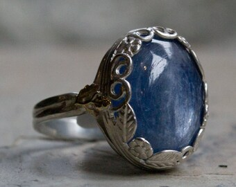 Bohemian jewelry, Silver gold ring, statement ring, kynite ring ,gemstone ring, two tone ring, Floral ring, Crown ring - Spiritual R2106