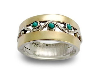 Birthstones ring, mothers ring, Two tones band, gift for mom, Gold Silver Ring, turquoise ring, gemstone ring - Entertainment tonight R1240.