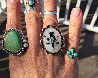 Vintage  turquoise sterling silver midi pinky ring sz 5