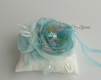 Wedding pillow with mint flowers---wedding rings pillow , wedding pillow, rings cushion