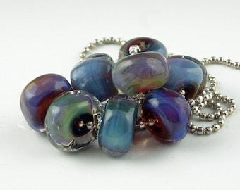 Magic Blue Rocks,8 Handmade Lampwork Glass Beads,lampwork bead set,jewelry supplies,lampwork spacer bead,artist lampwork