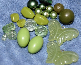 Green Acrylic Bead Lot (a few may be wood underneath surface)
