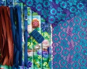 DIY Fabric and notions Flowered Stripe Blue & Purple for 1 BRA and BRIEF by Merckwaerdigh