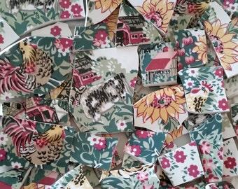 Mosaic Tiles-Farm Living- Barn-Cows-Flowers- 58 tiles