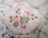 Pink Roses and Glittered Leaves on Pink Shell, Hand Painted Beachy Decor with White Dots, ECS