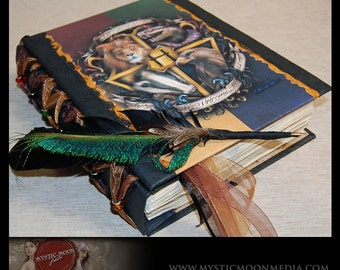 Welcome Home- Hogwarts Crest Inspired Handmade XL Journal With Glass Beads...Quill Pen- Refillable- Harry Potter Journal