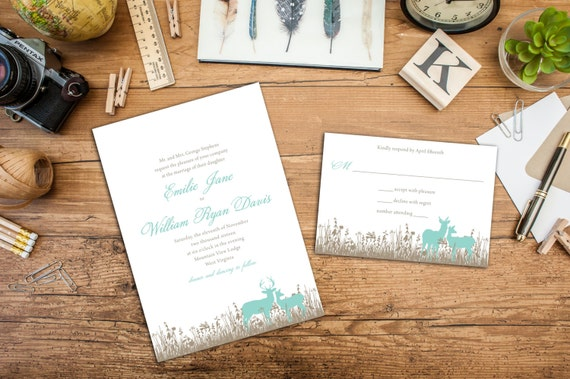 Grazing Deer Wedding Invitation Set, Wedding Invitation and Response Cards, Thank you cards, Outdoor Wedding, Fall wedding, Deer in a field