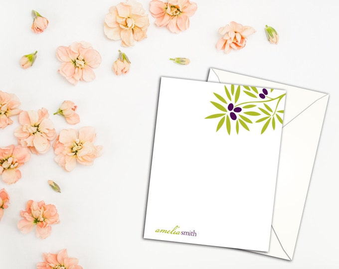 Olive Branch Flat Note Cards with Envelopes, Custom Personalized Note Cards, Set of Ten Note Cards with Envelopes