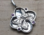 Amethyst and Sterling- The Butterfly/ Cherry Blossom Pendant