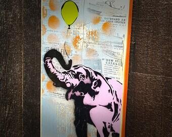 Pink Elephant Painting on Canvas Pop Art Style Original Artwork Stencil Urban Street Art