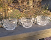 Three Diamond Cut Glass Sugar Bowls - Vintage Wedding