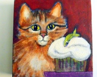 Original acrylic painting  CAT and ANCHOVY  CUPCAKE signed 5 by 5 inch work by Canadian Ellen Haasen