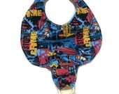 Baby Pacifier Holder Bib Superman Fabric