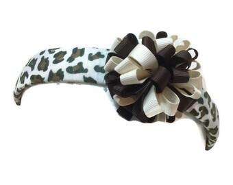 Brown Cream Bow Removable on Leopard Print Headband