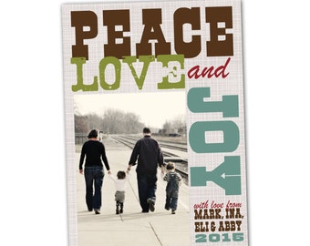 Poster Christmas card, Subway art holiday card, peace love and joy personalized Christmas card, vintage look, custom photo card
