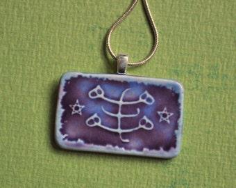 Baha'i Ringstone Symbol Necklace- porcelain rectangle in Violet