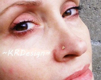 14K Solid Gold-Disc-Tragus-Nose Ring-Gold Nose Stud-Earrings-Customized - Free US Shipping