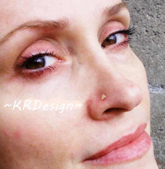 14K Gold Disc Nose Stud - Gold Nose Stud - Customise - Free US Shipping