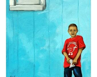 SALE - Born to smile - Little Boy original figurative oil painting