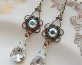 75% Off Price Sale- AB Swarovski Crystal with Vintage Glass Teardrop