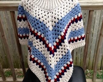 SALE Boho Womens Cowl Poncho Crochet Accessories Red Blue Shawl Wrap, Cowl Poncho, Poncho, Brown, Teal, Taupe, Poncho, Crochet Accessory