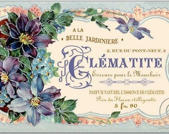 Art Print on SILK Vintage Perfume Label - Clematite lovely shades of violet cream gold and lavender - use in fiber arts Crazy Quilting +more
