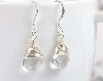 Silver Earrings, Clear Faceted Briolette Silver Wire Wrapped Earrings, Dangle Earrings, Simple Earrings, Simple Silver Earrings