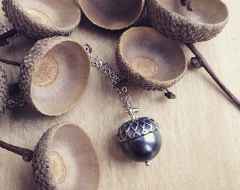 Acorn Necklace - Sterling Silver with Gray Pearl