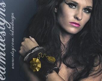 Steampunk Cuff Womens GLAMOUR Cuff Black VELVET Gold Floral Gears Coils Art DeCO Cuff Rocker PuNk Cuff - Steampunk Clothing by edmdesigns