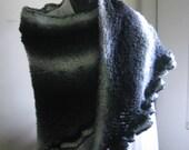 RESERVED for GINALOSARDO-Handknit Shaded Black, Grey & White Triangle Shawl with Ruffled Edge
