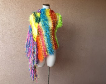 Bright Shawl Scarf Wrap, Neon Fluorescent Shawl, Hot Pink, Orange, Blue, Red, Yellow, Teal Shawl Wrap with Fringe