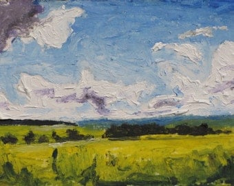 Art & Collectibles ACEO Trading Card  Small Landscape Oil Painting Miniature Impressionist Yellow Sky Cloud Quebec Canada Founier no 2015-13